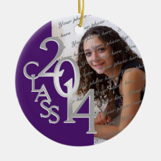 Class 2014 Graduation Photo Purple and Silver Double-Sided Ceramic Round Christmas Ornament
