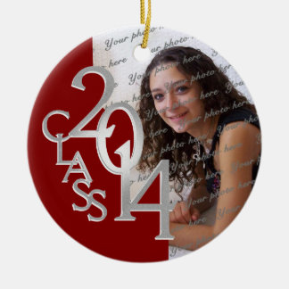 Class 2014 Graduation Photo Red and Silver Double-Sided Ceramic Round Christmas Ornament