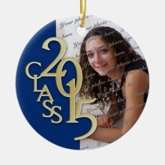 Class 2015 Graduation Photo Blue and Gold Double-Sided Ceramic Round Christmas Ornament