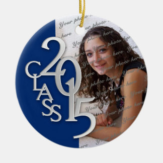 Class 2015 Graduation Photo Blue and Silver Christmas Ornament