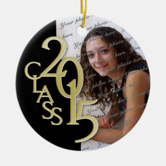 Class 2015 Graduation Photo Gold Double-Sided Ceramic Round Christmas Ornament