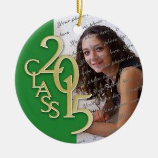 Class 2015 Graduation Photo Green and Gold Ceramic Ornament