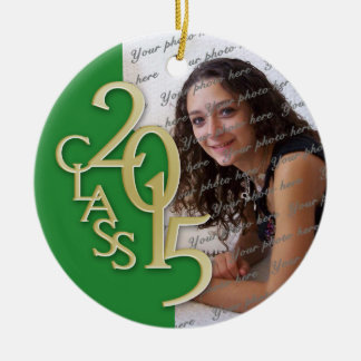 Class 2015 Graduation Photo Green and Gold Double-Sided Ceramic Round Christmas Ornament
