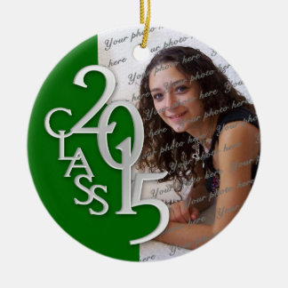 Class 2015 Graduation Photo Green and Silver Double-Sided Ceramic Round Christmas Ornament