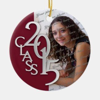 Class 2015 Graduation Photo Maroon and Silver Double-Sided Ceramic Round Christmas Ornament