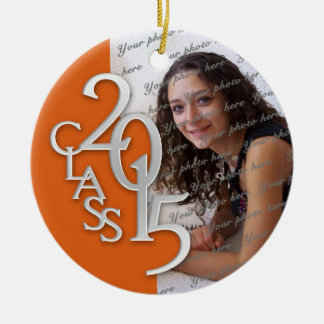 Class 2015 Graduation Photo Orange Double-Sided Ceramic Round Christmas Ornament