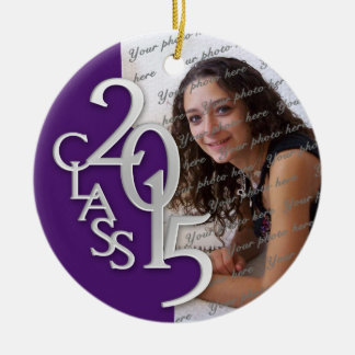 Class 2015 Graduation Photo Purple and Silver Double-Sided Ceramic Round Christmas Ornament