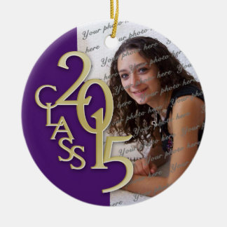 Class 2015 Graduation Photo Purple Double-Sided Ceramic Round Christmas Ornament