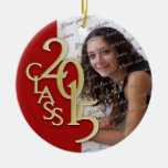 Class 2015 Graduation Photo Red and Gold Ceramic Ornament