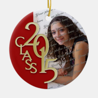 Class 2015 Graduation Photo Red and Gold Double-Sided Ceramic Round Christmas Ornament