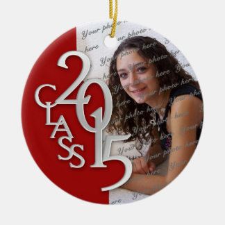 Class 2015 Graduation Photo Red and Silver Double-Sided Ceramic Round Christmas Ornament