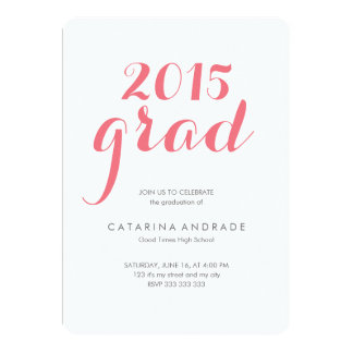 Class 2015 Photo Graduation High School Script 5x7 Paper Invitation Card