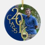 Class 2016 Blue and Gold Graduate Photo Ceramic Ornament