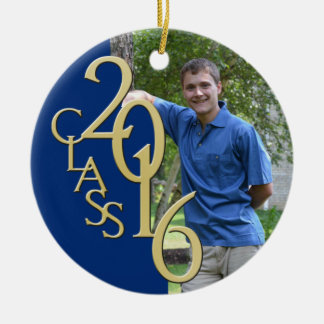 Class 2016 Blue and Gold Graduate Photo Double-Sided Ceramic Round Christmas Ornament