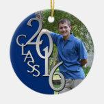 Class 2016 Blue and Silver Graduate Photo Ceramic Ornament