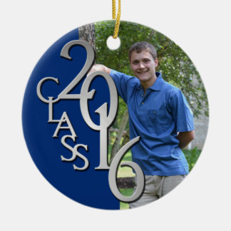 Class 2016 Blue and Silver Graduate Photo Double-Sided Ceramic Round Christmas Ornament