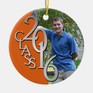 Class 2016 Orange and Silver Graduate Photo Double-Sided Ceramic Round Christmas Ornament