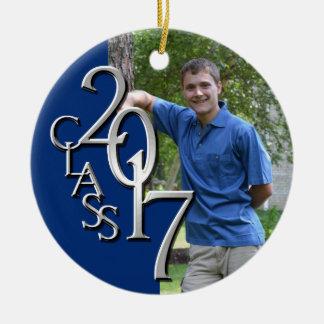Class 2017 Blue and Silver Graduate Photo Ceramic Ornament