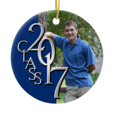 Christmas Themed Class 2017 Blue and Silver Graduate Photo Ceramic Ornament