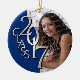 Class 2017 Graduation Photo Blue and Silver Ceramic Ornament