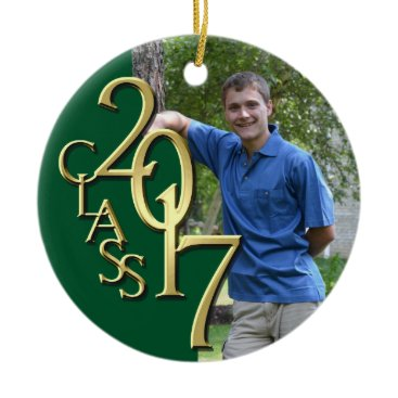 Christmas Themed Class 2017 Green and Gold Graduate Photo Ceramic Ornament