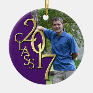 Class 2017 Purple and Gold Graduate Photo Ceramic Ornament