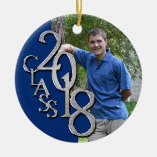 Class 2018 Blue and Silver Graduate Photo Ceramic Ornament