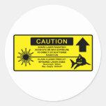 Class 4 Laser Shark Round Stickers
