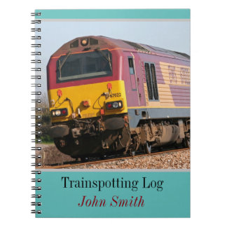 Class 67 diesel trainspotting log personalised spiral notebook
