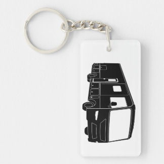 Class A Motorhome / Bus Silhouette on Keychain Rectangular Acrylic Key Chain