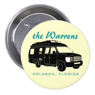 Class B Motorhome / Camper Van Silhouette Graphic Pinback Button
