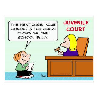 class clown school bully juvenile court postcard