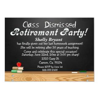Class Dismissed Chalkboard Teacher Retirement 5x7 Paper Invitation Card