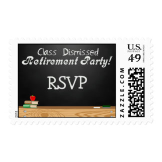 Class Dismissed Chalkboard Teacher Retirement Postage Stamps