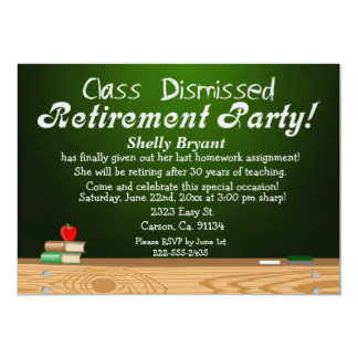 Class Dismissed Green Chalk Teacher Retirement Card