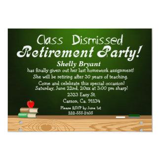 Class Dismissed Green Chalk Teacher Retirement Invites