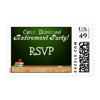 Class Dismissed Green Chalk Teacher Retirement Postage Stamps