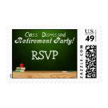 Class Dismissed Green Chalk Teacher Retirement Postage Stamp