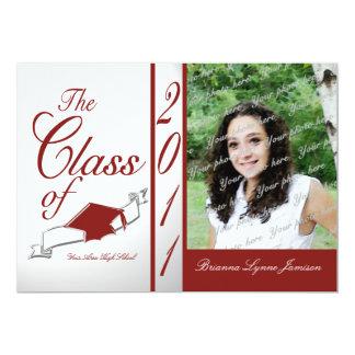 Class Graduation 2011/ Red 5x7 Paper Invitation Card