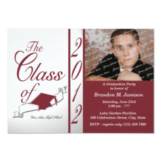Class Graduation 2012 Maroon Personalized Announcement