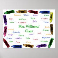 Class Names Poster - Crayons
