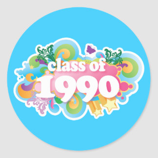 Class of 1990 round stickers