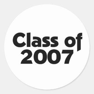 Class of 2007 Black & White Classic Round Sticker