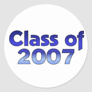 Class of 2007 Blue & White Classic Round Sticker