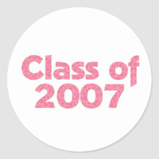 Class of 2007 Pink Classic Round Sticker