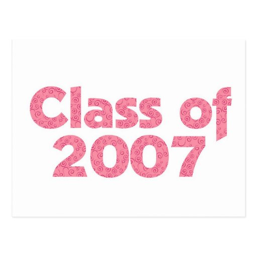 Class of 2007 Pink Postcard