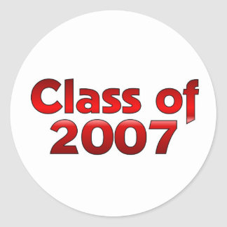 Class of 2007 Red & White Classic Round Sticker