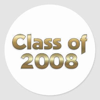 Class of 2008 - Gold Classic Round Sticker