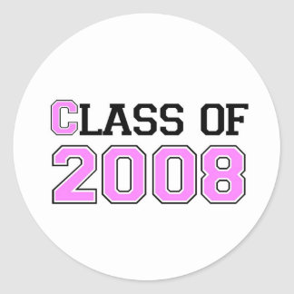 Class of 2008 Pink Classic Round Sticker