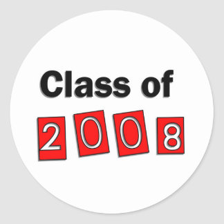 Class of 2008 Red Classic Round Sticker